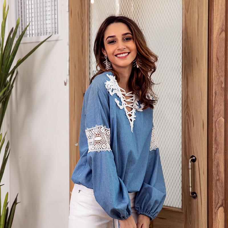 Denim blue blouse V neck lace stitching long sleeve shirt womens tops and blouses N30D in Blouses amp Shirts from Women 39 s Clothing