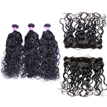 Water Wave Bundles With Lace Frontal Closure 3 Pcs Brazilian Human Hair Extension 13×4 Pre Plucked Lace Frontal CARA Remy Hair
