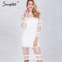 Simplee Hollow Out White Lace Dress Women Autumn Winter Long Sleeve Sexy Dress Elegant Evening Party