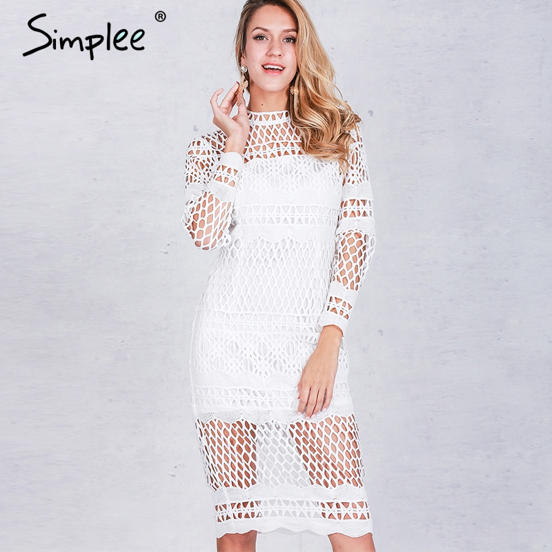 Simplee hollow out white lace dress mujeres otoño invierno de manga larga sexy d