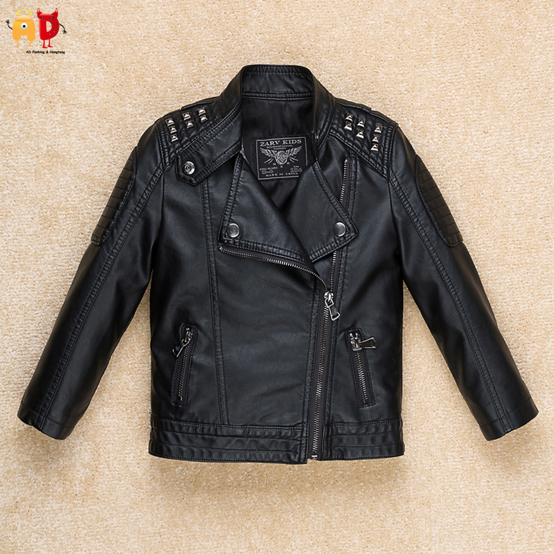 AD Cool Rivet Shoulder Boys Leather Jacket Girls PU Coat Children's Clothing Clothes for Spring Quality Soft jacket ad milano jacket