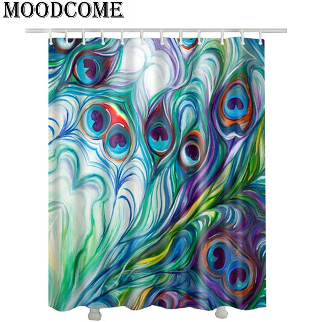 Printed Feather Peacock Shower Curtain Hot Sale Fashion 2017 New Desigh Waterproof Bathroom Curtains