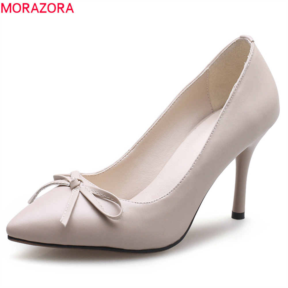 MORAZORA 2018 female shoes genuine leather pointed toe with butterfly knot high heels thin heel slip on shallow ladies pumps nesimoo 2018 women pumps pointed toe thin high heel genuine leather butterfly knot ladies wedding shoes slip on size 34 39