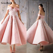 SexeMara Prom Dress Tea Length Ball Gown Dress for