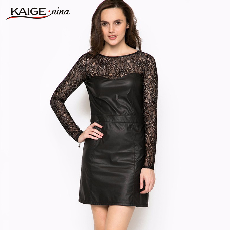 Kaige.Nina New Style Women's Fashion Sexy Lace Decoration Pure Color Round Collar A-Line Mini Summer Dress 1236