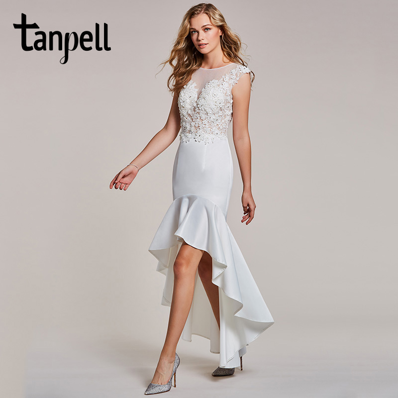 Tanpell asymmetry evening dress white appliques cap sleeves dress ...