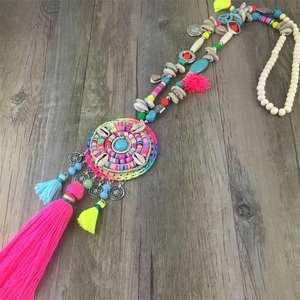 Long Necklace Fashion Jewelry Ethnic Punk-Style Boho Bohemian Colorful Women Vintage
