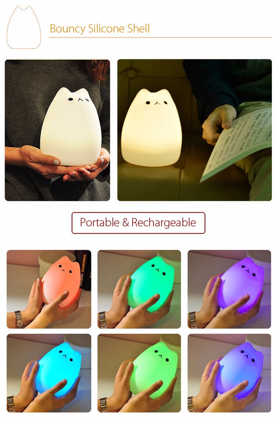 SuperNight Cute Cartoon Cat LED Night Light 7 Colors Silicone Rechargeable TapRemote Control Children Baby Bedside Table Lamp (18)