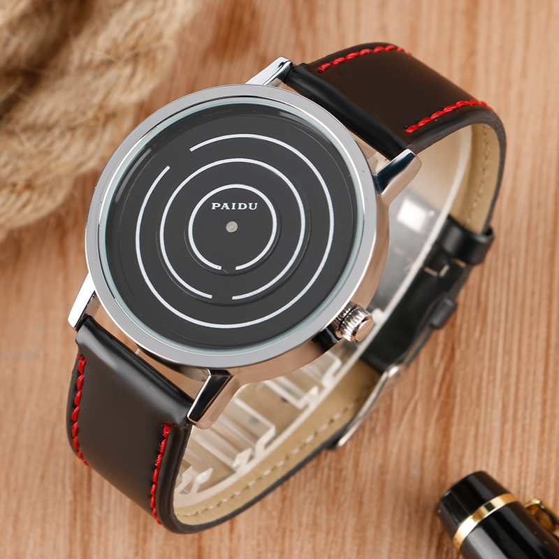 PAIDU Special Turntable Dial Sport Watches for Men Leather Modern Trendy Casual Unique Student Quartz Watch Fashion Male Clock new arrival turntable simple wrist watch women trendy quartz watch casual special design sport round dial hour student relogio