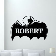 Custom Name Batman Wall Decal Removable Personalized Superheroes Vinyl Stickers Mural Nursery Decoration AY0229