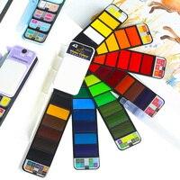 42 Colors Art Solid Gouache Pigment Professional with Paintbrush Fan Status Foldable Portable for Drawing Paint Watercolors Set
