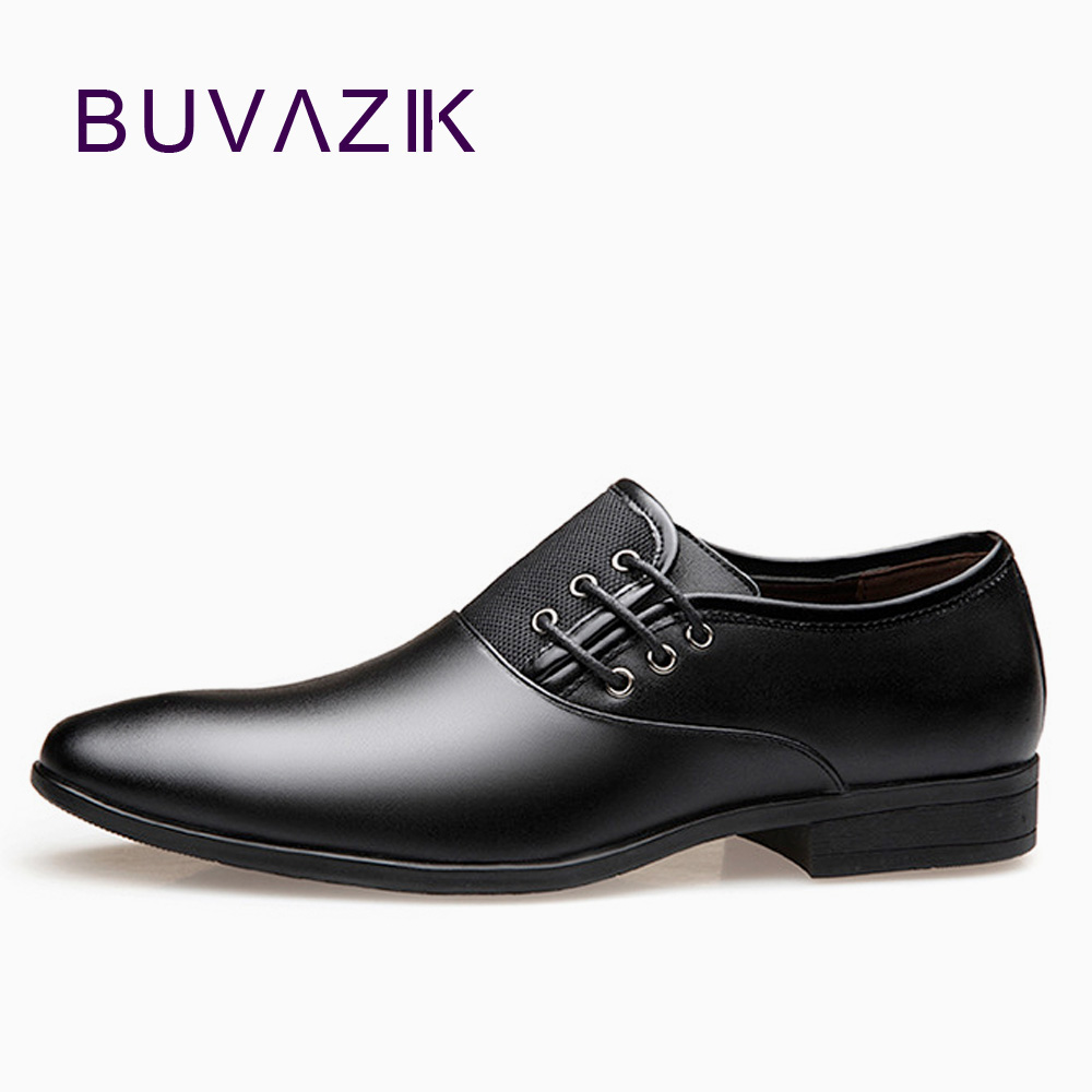BUVAZIK Mens Dress Shoes Black Classic Point Toe Oxfords For Men Formal Footwear Mens Business Party big size 46 47
