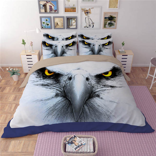 American eagle brid 3D Printed Comforter Bedding Set Twin Full Queen King Size Quilt/Duvet Cover 3pc Boys Adults Bed Linens grey