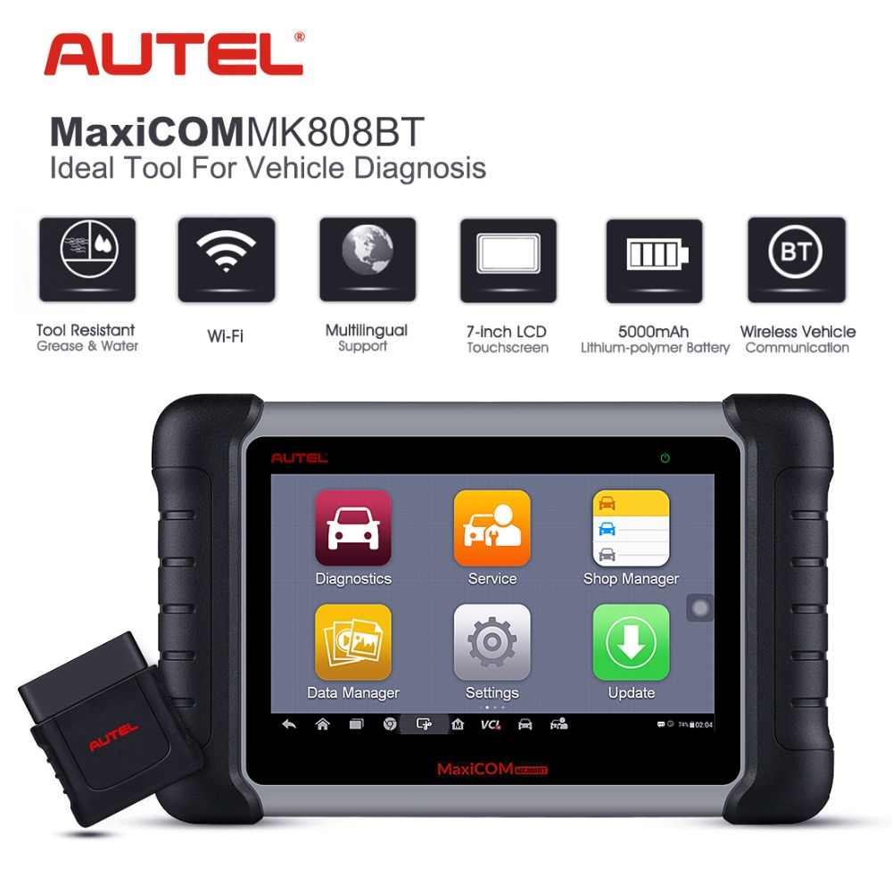 цена Autel MaxiCOM MK808BT OBD2 Scanner Diagnostic Tool with MaxiVCI Supports Full System Diagnosis IMMO/EPB/SAS/BMS/TPMS/DPF
