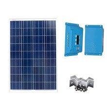 Kit Solar Energy Solar Panel 100W 12V Solar Charge Controller 10A 12v/24v LCD Display Z Bracket Mounts Marine Boat Yacht