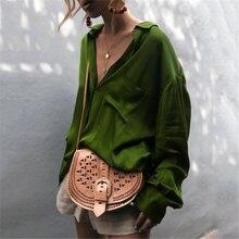 Женская атласная блузка с длинным рукавом, в стиле Харадзюку