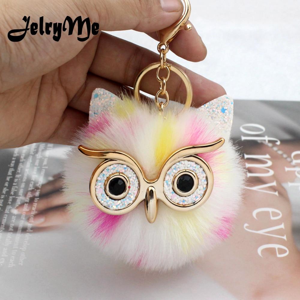 Fluffy Color Dot Fur Cute Owl Key Chains Pom Pom Women Key Ring Car Charm Bag Purse Pendant Jewelry Funny Doll Animal Keychain