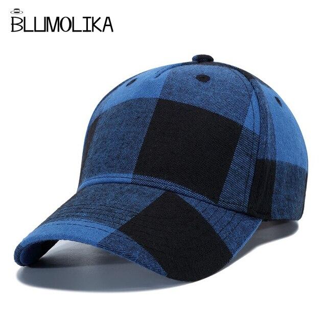 New Spring Baseball Caps Hat for Men Women Red Plaid Baseball Cap  Adjustable Winter Cotton Hats Blue White Plaid Snapback Caps 097272e8c8
