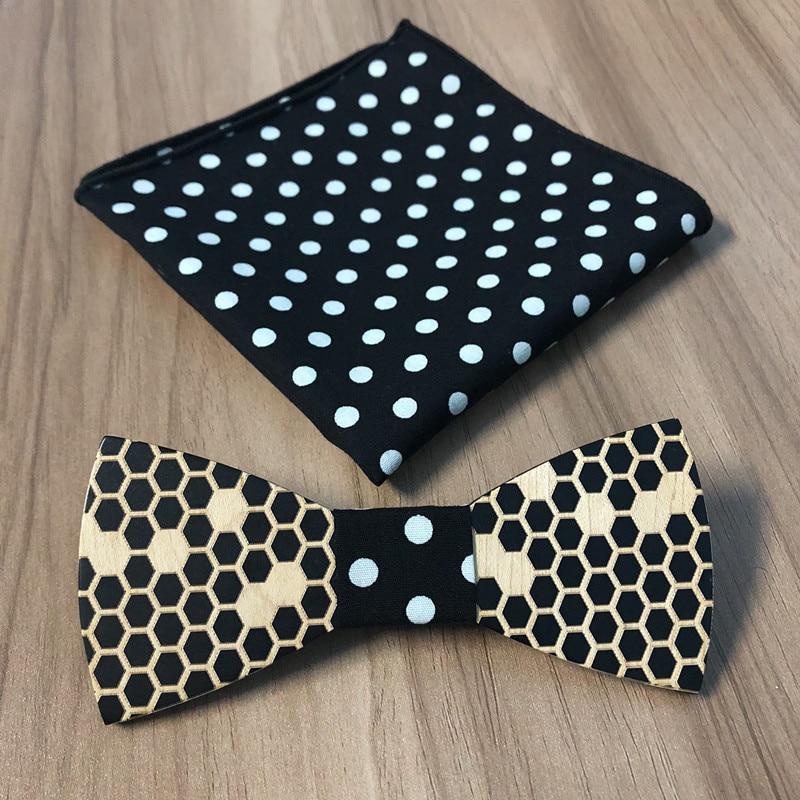 New 2018 Wooden tie Pocekt Square Fashion wood bow tie wedding dinne Handmade corbata Wooden Ties Gravata set free shipping