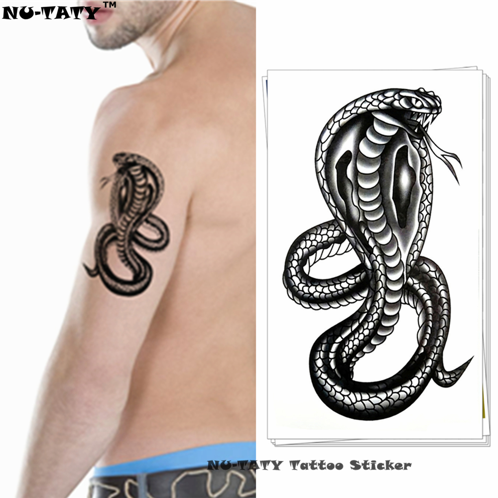Nu-TATY Black Mamba Cobra Snake Midlertidig tatovering Body Art Arm Flash Tattoo Stickers 17 * 10cm Vanntett Fake Henna Smertefri