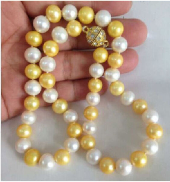 Free shipping Charming AAA+10-11mm natural south seas white. pearl necklace 18 inch a(5.18)