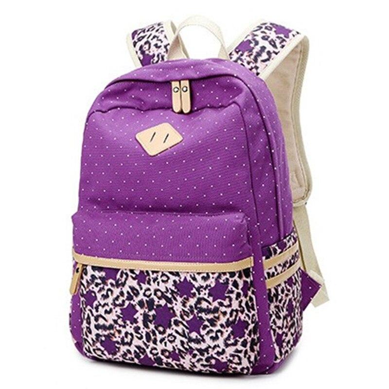 2016 новое поступление Элегантный женский рюкзак для школы для подростка девочки Леопардовый принт холщовая женская сумка рюкзаки женские п