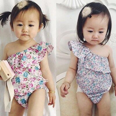 8bb562d1618c Baby girl one shoulder baby romper floral One Side off the shoulder romper  toddler playsuit baby clothes