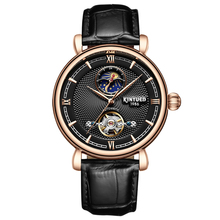 KINYUED יוקרה מותג Tourbillon אוטומטי שעונים שלד מכאני עצמי רוח Mens ירח שלב שעונים מקרית horloges mannen