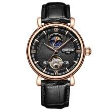 KINYUED marque de luxe Tourbillon montre automatique squelette hommes mécanique auto vent hommes Phase de lune montres horloges décontracté mannen