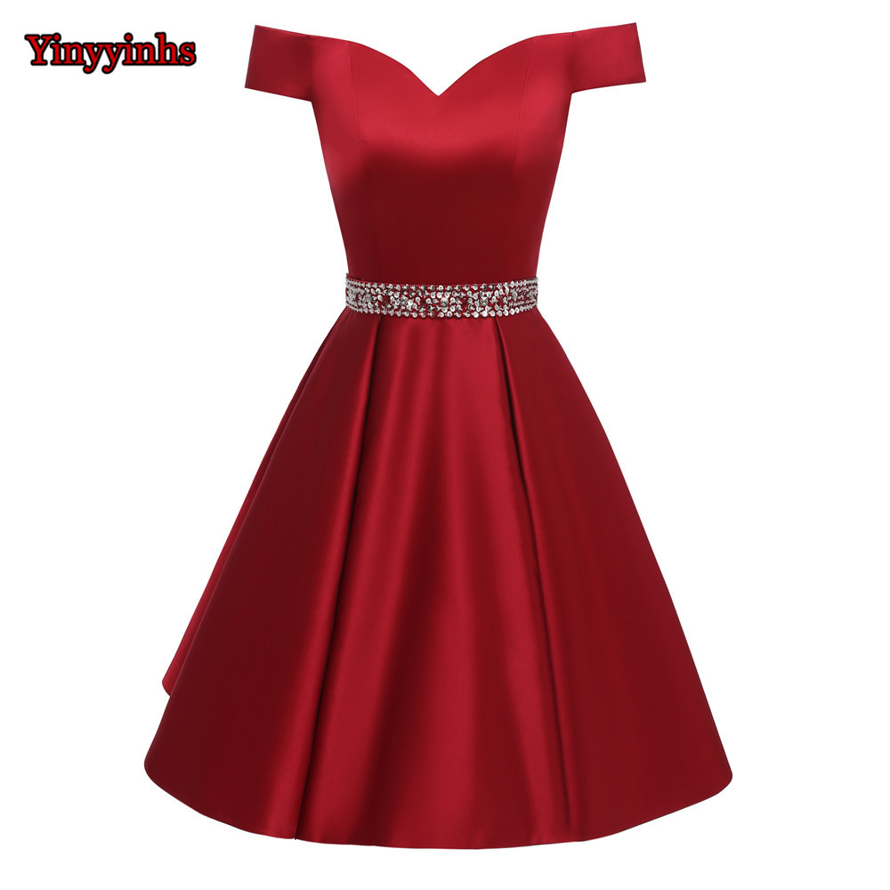 Cheap Short Beaded Prom   Dresses   2020 Sexy Backless Off Shoulder Homecoming   Dress   Robe De Soiree   Cocktail   Gown with Pockets GG78