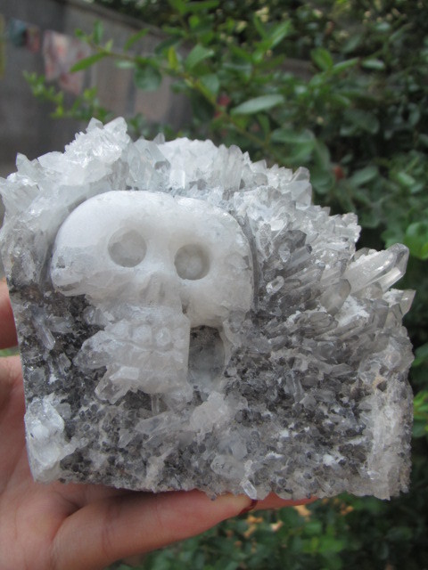1154 g Tibetina prirodna bistra kvarcna kristalna lubanja. Spektar u - Kućni dekor - Foto 4