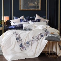white/blue Luxury flowers Embroidery 100S Egypt Cotton Comfortable Bedding Set Duvet cover Bed Sheet Pillowcase Queen King size