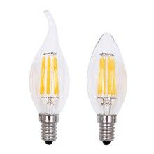 LED Filament Candle Light Bulb E27 220V 2W 4W 6W C35 Edison Bulb Retro Antique Vintage Style Cold White Warm White Lamp цена и фото