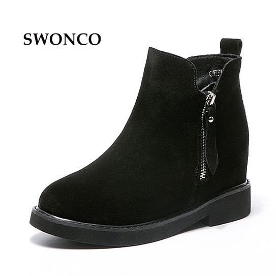 SWONCO Women's Ankle Boots Autumn Genuine Leather Height Increasing Ladies Shoes Women Boots Round Toe Plush Warm Winter Shoes стоимость