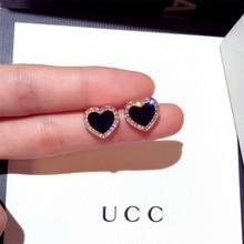 Ультрамодные Нежные Черные акриловые Фианит, циркон, кристалл, серьги в форме сердца, розовое золото, антиаллергенные серьги-гвоздики, Женские Ювелирные изделия
