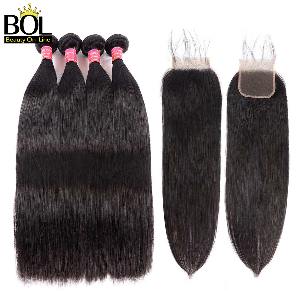 Straight Hair Bundles With Closure Brazilian Hair Weave 3 Bundles - Menneskehår (sort)