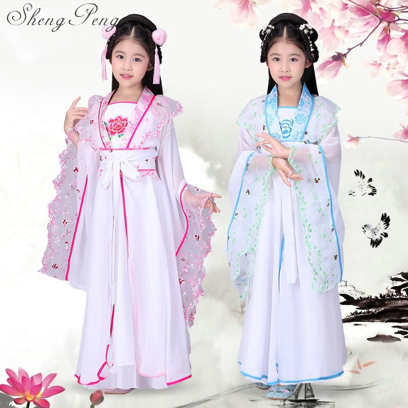 Chinese folk dance 2018 Top Fashion Ancient Chinese Dance Costumes Women Hanfu Pattern Wear National Costume Stage CC320