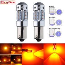 2 x BA9S T4W BAX9S H6W BAY9S H21W XBD cips 80W otomatik LED yedek ampul için araba gösterge açın sinyal ışığı lambası Amber 12V 24V