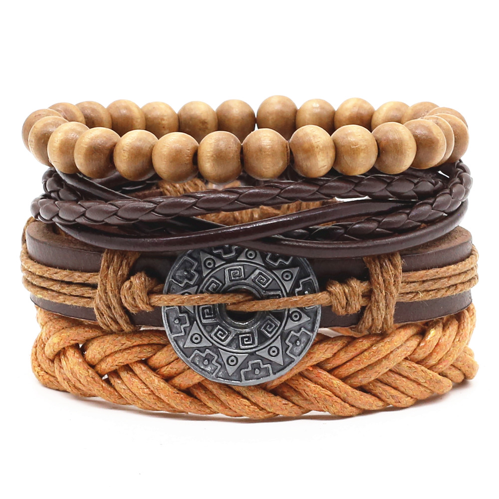 New Casual Weave Multilayer Fish Skull Words Leaf Charm Men Black Brown Leather Bracelets Female Women Homme Jewelry 4 PCS/Set