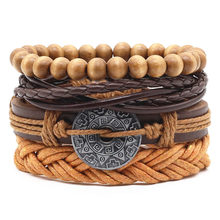 New Casual Weave Multilayer Fish Skull Words Leaf Charm Men Black Brown Leather Bracelets Female Women Homme Jewelry 4 PCS/Set(China)