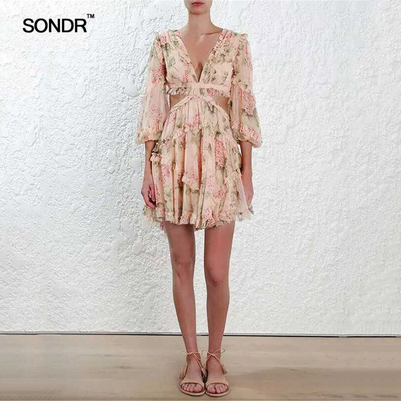 SONDR Print Dress Female Lantern V Neck Long Sleeve Hollow Out Back Bandage Women 39 s Dresses 2019 Summer Casual Fashion in Dresses from Women 39 s Clothing