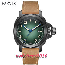 44mm Parnis green dial black PVD case luminous markers date adjust sapphire glass miyota Automatic movement Men's Watch