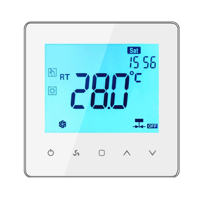 Touch Button Fan Coil Thermostat Air Conditioner Temperature Control Panel With RS485 Communication