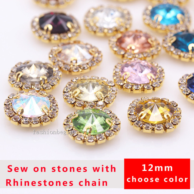 20p 12mm round rivoli sew on costume dress Gems crystal glass Flat back  diamante rhinestones trim f45ddfdbd556