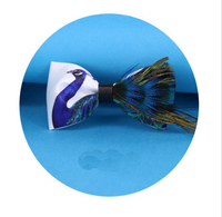 1pcs Party Necktie 2017 Peacock Feather Bow Tie For Man High Quality Men's Tuxedo Dress Animal Bowtie With Acrylic Butterfly