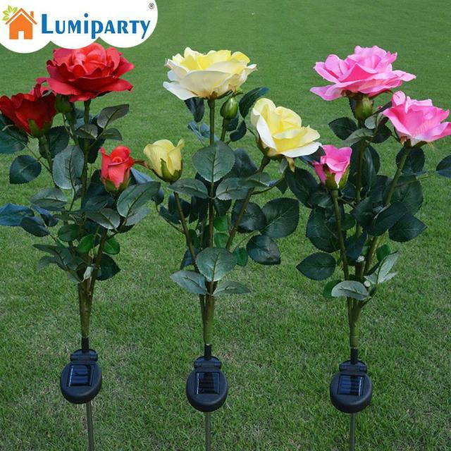 Adeeing LumiParty Outdoor Solar Powered 3 LED Light Waterproof Rose Flower Stake Lamp