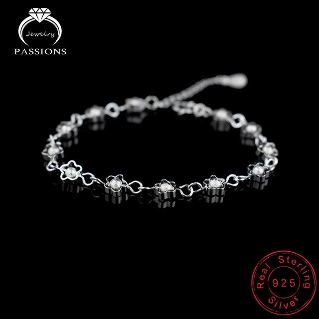 ad074edbb5ea Gran venta pulsera cadena para mujer Multi hueco flor pulseras cadena 925  plata esterlina placa pulsera