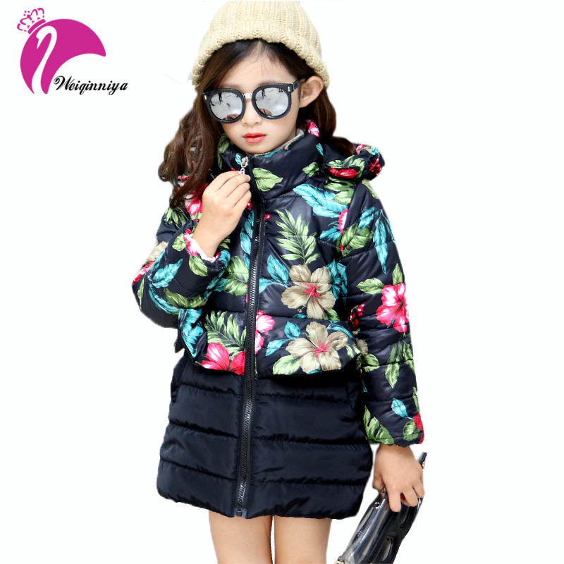 Winter Girls Jackets Kids Warm Floral Print Outerwear Coat Kids Hooded Thicken Cotton-padded Clothes Fashion Children Clothing baby girls parkas 2017 winter thick outerwear casual coats children clothing kids clothes solid thicken cotton padded warm coat