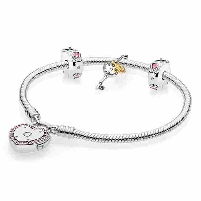 Kristie 100% 925 Silver 1:1 Genuine Charm Pink Key Heart Valentine Bracelet Set Free ShippingKristie 100% 925 Silver 1:1 Genuine Charm Pink Key Heart Valentine Bracelet Set Free Shipping