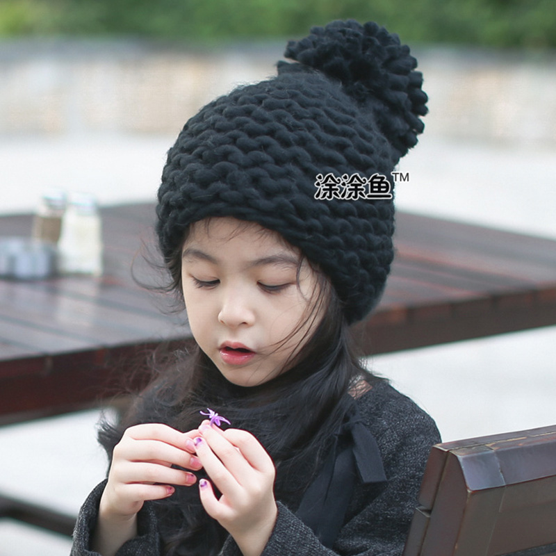 купить 2016 Solid Color Girl Pom Pom Beanie Warm Knitted Kids Big Pompom Hat Children Wool Pompon Winter Hat Cap Drop Shipping дешево